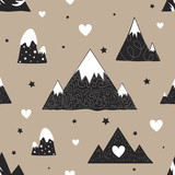 Vector illustration with cute cartoon seamless pattern. Black white mountains, stars and hearts - 128450313