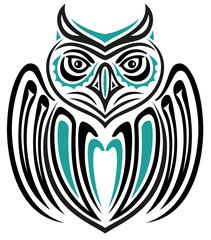 Große Eule (Uhu), im Haida Tattoo Style.