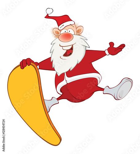 Papiers peints Chambre bébé Illustration of a Cute Santa Claus and a Skateboard. Cartoon Character