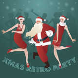 Funny Santa Claus and two flapper girls dancing charleston.