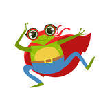 Frog Animal Dressed As Superhero With A Cape Comic Masked Vigilante Character