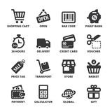 Shopping flat symbols. Black
