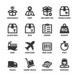 Shipping flat symbols. Black