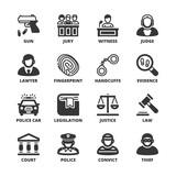 Law flat symbols. Black