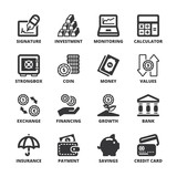 Finances flat symbols. Black