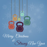 Christmas and New Year greeting card with kettlebells
