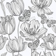 seamless monochrome pattern with tulips and butterflies