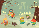 Fototapety Cute kids playing winter games