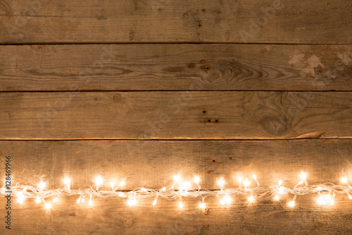 Christmas Rustic Background Vintage Planked Wood With Lights And Free Text E