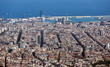 view of Barcelona and sea from mount