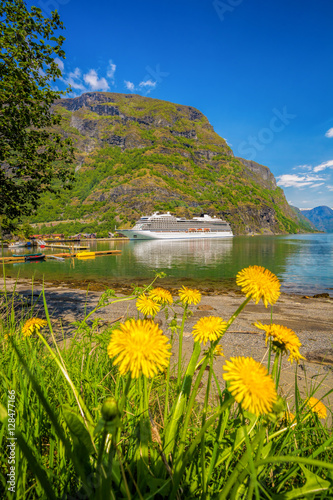 Foto op Plexiglas Indonesië Cruise ship in the port of famous Flam, Norway.