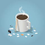 Fototapety Isometric vector illustration of coffee break during working day concept. Big cup of hot coffee surrounded by small business man tools: paper, document, glasses, case, phone, pen, folder, stock rates.