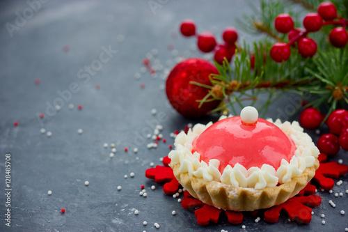 Poster Santa hat cake modern dessert for winter holiday party