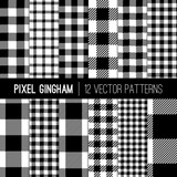 Fototapety Black and White Gingham Patterns and Buffalo Check Plaid Patterns. Modern Pixel Gingham Patterns of Different Styles. Vector Tile Swatches made with Global Colors.