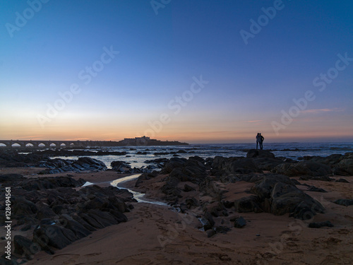 Casablanca beach with sunset in Morocco Poster