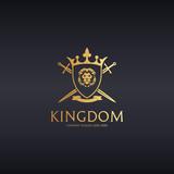 Kingdom logo. Knight logotype. Lion illustration