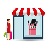 cosmetics woman buys gifts vector illustration eps 10