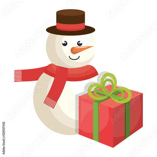 Poster snowman character christmas celebration vector illustration design