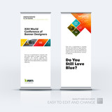 Business vector set of modern roll Up Banner stand design with r