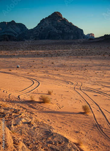 "Poster Tracks in the sand at Wadi Rum, Jordan (used as the set for the movie ""Lawrence"
