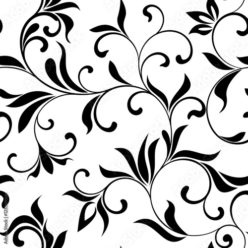 Seamless pattern: flowers on a white background