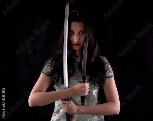 Poster Samurai Girl, female ninja, samurai sword, katana, studio portrait