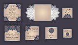 Vintage wedding invitation design set include Invitation card, Save the date, RSVP card, Thank you card, Table number, Place cards, Paper lace envelope. Wedding invitation mock-up for laser cutting