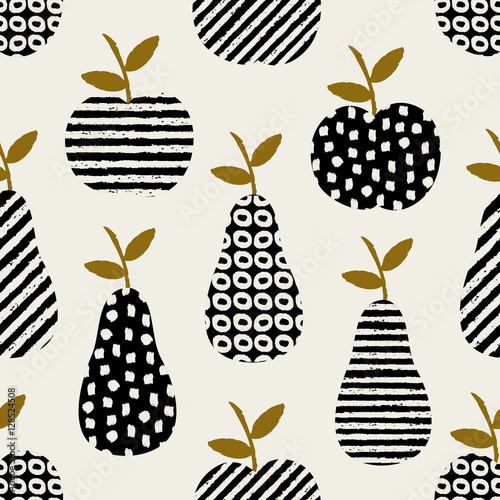 Hand drawn seamless pattern with pears and apples in black, cream and ochre. - 128524508