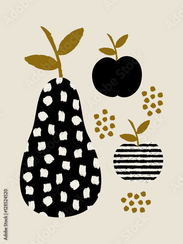 Modern design with pears and apples in black, cream and ochre. - 128524520