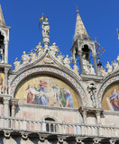 mosaics in the facade of Basilica of Saint Mark in Venice in Ita
