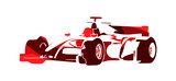 Formula racing car, red abstract vector silhouette