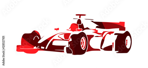 Fotobehang F1 Formula racing car, red abstract vector silhouette