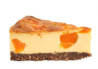 Cheese cake slice with pumpkin isolated on white