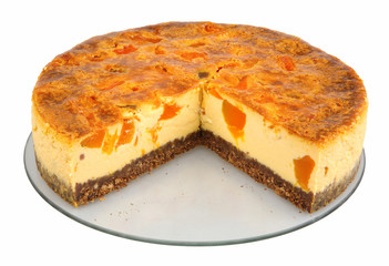 cheese cake with pumpkin on white