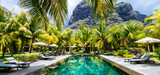 Luxury tropical vacation.Spa swimming pool, Mauritius island - 128532563