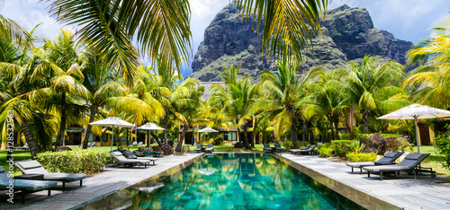 Fotobehang Freesurf Luxury tropical vacation.Spa swimming pool, Mauritius island