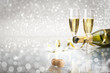 Toast champagne New Year, silver background