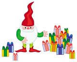 Funny gnome with boxes of presents. Cute character for Christmas decorations