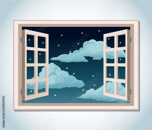 room window night sky stars clouds vector illustration eps 10 - 128554953