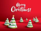 Merry Christmas Landscape. Christmas tree.  - 128555347