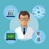 character medical scientist experiment laboratory vector illustration eps 10