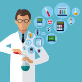 medical scientist experiment laboratory supplies vector illustration eps 10