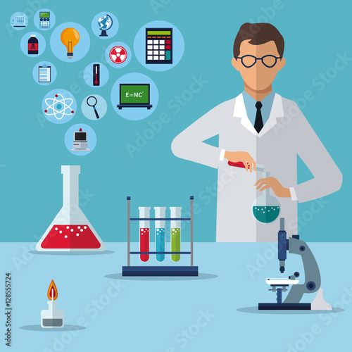 medical scientist research experiment laboratory vector illustration eps 10