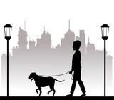 silhouette man with dog walking park city background vector illustration eps 10