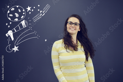 Poster Young smiling woman on blue gray background with universum icons.