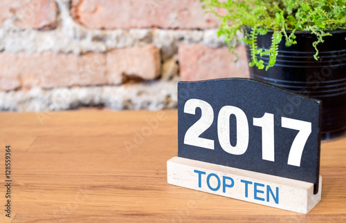 Top ten topic of 2017 year on blackboard sign and green plant on Poster