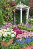 pavilion in beautiful flower garden
