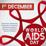 Linked Red Ribbons United to Commemorate World AIDS Day, Vector Illustration