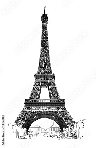 Deurstickers Art Studio Eiffel tower isolated, very detailled