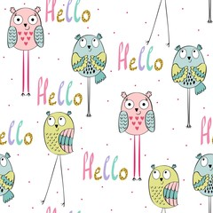 Vector seamless pattern with cartoon baby owls